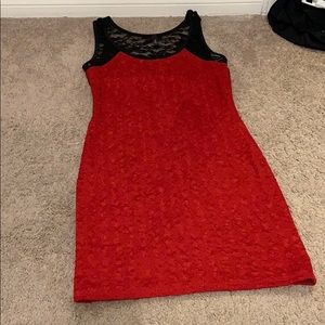 Red ruffle and black lace dress